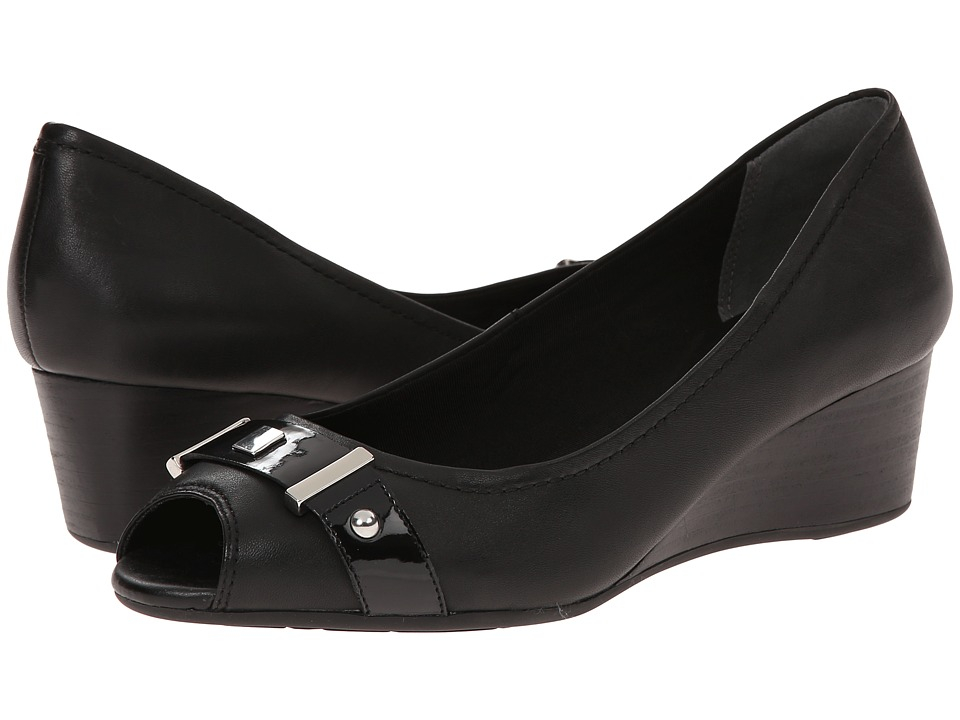 Rockport - Total Motion 45mm Peep Wedge (Black Soft Tumble 1) Women