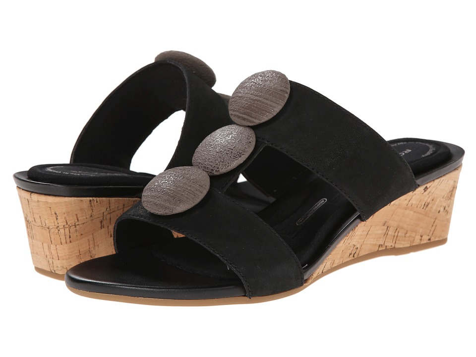 Rockport - Total Motion 55mm Stone Ornament Slide Wedge Sandal (Black) Women