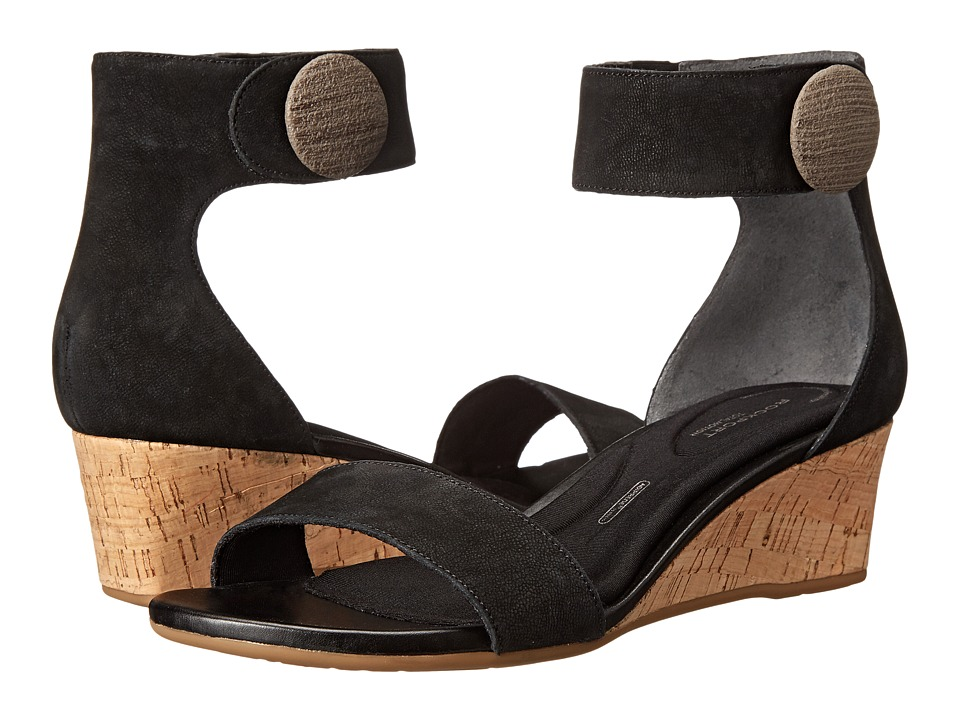 Rockport - Total Motion 55mm Stone Ankle Strap Wedge Sandal (Black) Women's Wedge Shoes