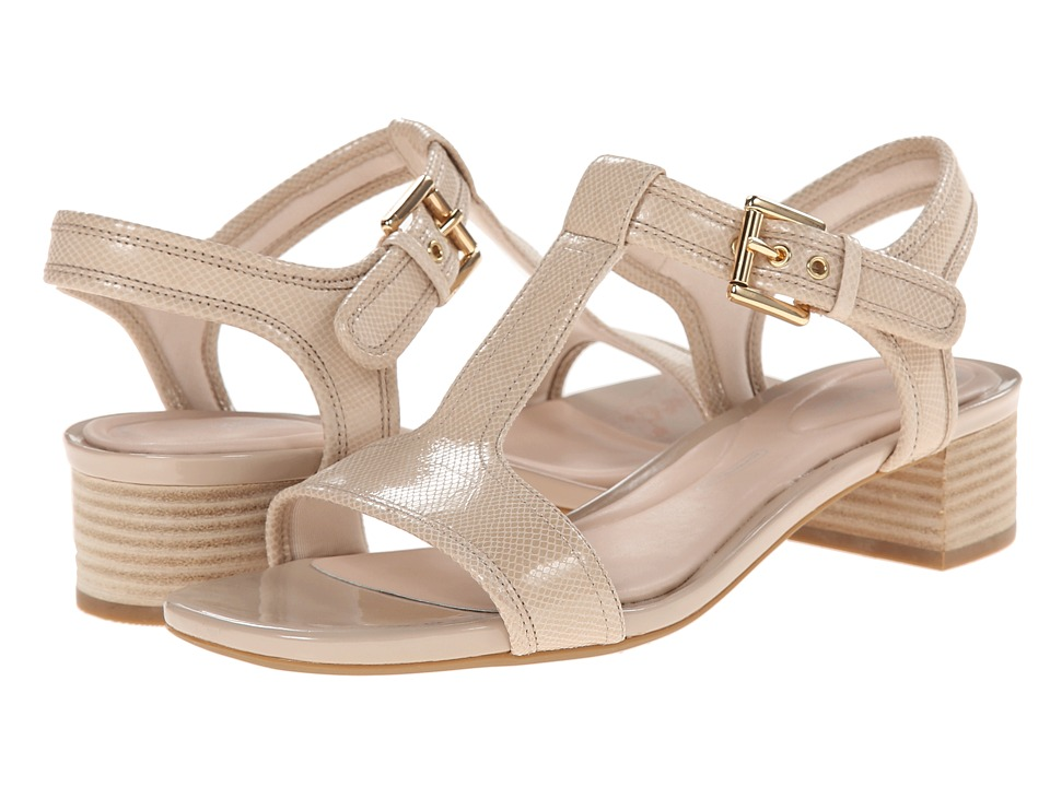 Rockport - Total Motion 40mm Block Heel T-Strap Sandal (Nude Snake Foil) Women