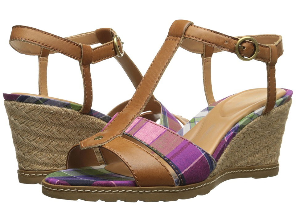 Rockport - Garden Court Perf T-Strap Sandal (Valigia Plaid) Women's Sandals