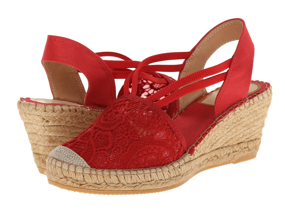 Vidorreta - Lola (Red Lace) Women's Wedge Shoes