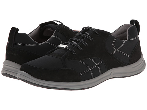 Rockport - XCS Walk Together Elastic Lace Up (Black Nubuck) Women's Lace up casual Shoes