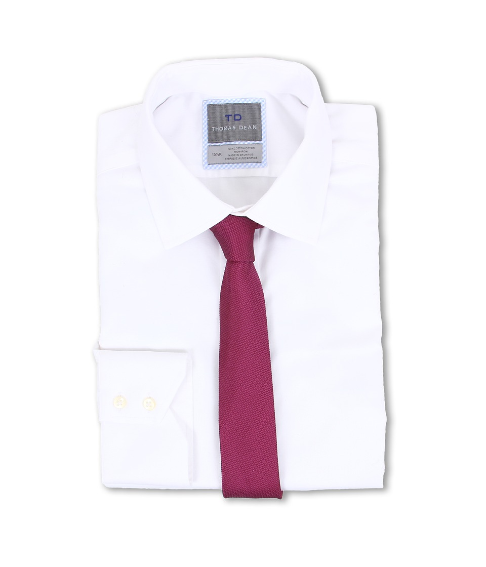 Thomas Dean & Co. - Non-iron L/S Woven Dress Shirt w/ Point Collar Solid Twill (White) Men's Long Sleeve Button Up