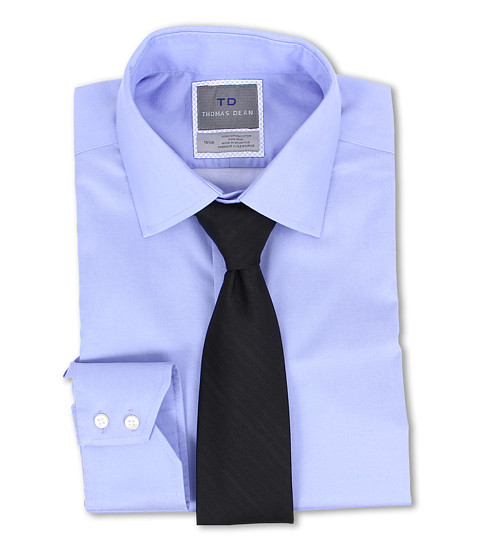 Thomas Dean & Co. - Non-iron L/S Woven Dress Shirt w/ Point Collar Solid Twill (Blue) Men's Long Sleeve Button Up