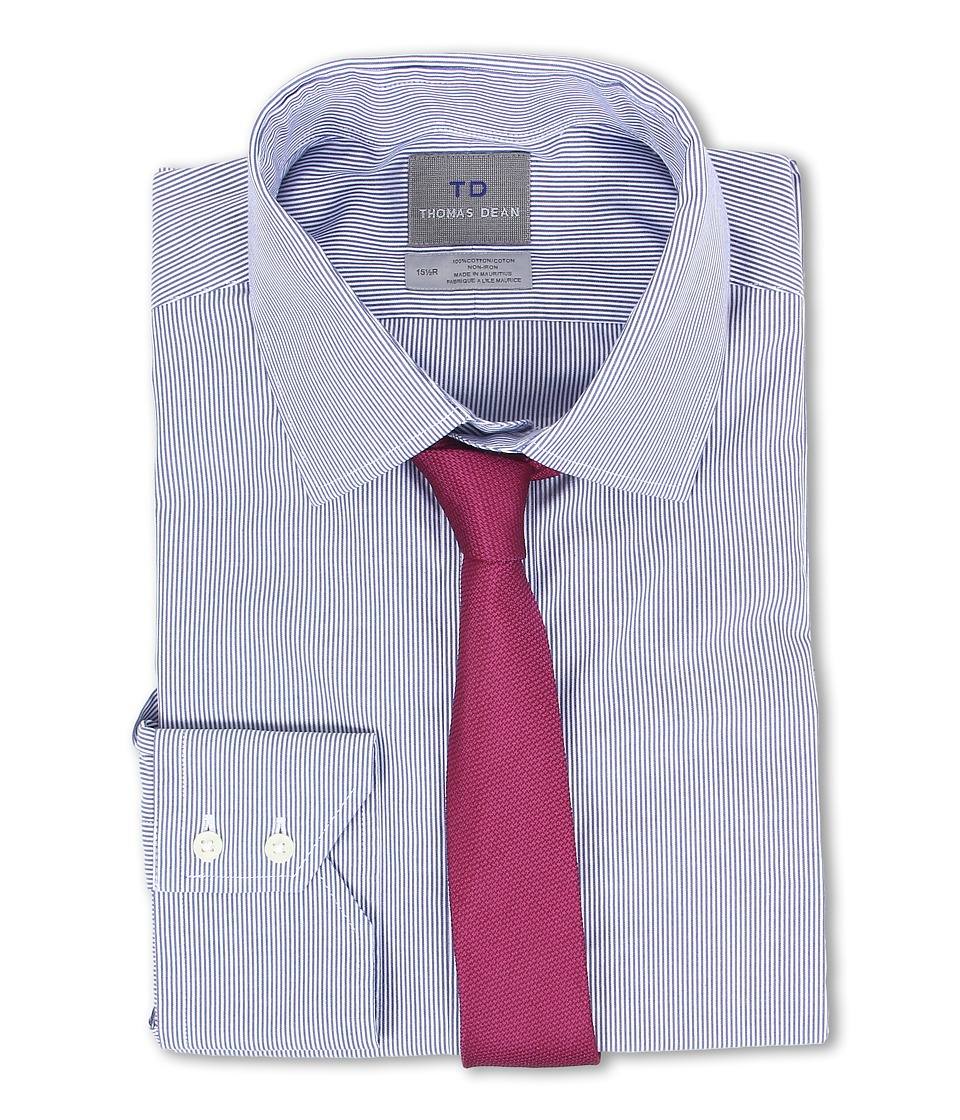 Thomas Dean & Co. - Non-Iron L/S Woven Dress Shirt w/ Point Collar Fine Line Stripe (Blue) Men's Long Sleeve Button Up