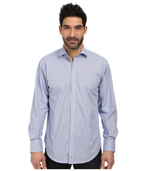 Thomas Dean & Co. - L/S Woven Shirt Embroidered Check (Cobalt/Cobalt/Academy) Men's Long Sleeve Button Up