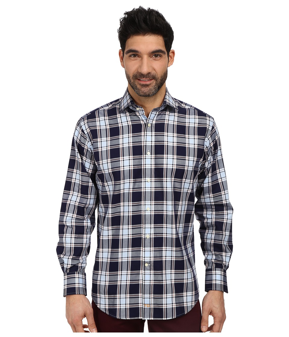 Thomas Dean & Co. - L/S Woven Shirt Textured Classic Plaid (Blue) Men's Long Sleeve Button Up