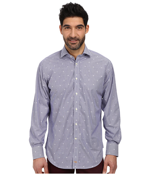 Thomas Dean & Co. - L/S Woven Shirt Fine Stripe w/ Geo Clips (Blue) Men's Long Sleeve Button Up