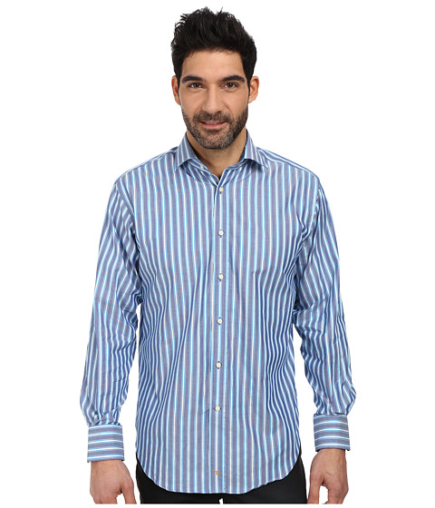 Thomas Dean & Co. - L/S Woven Shirt Oxford w/ Textured Stripe (Blue) Men's Long Sleeve Button Up