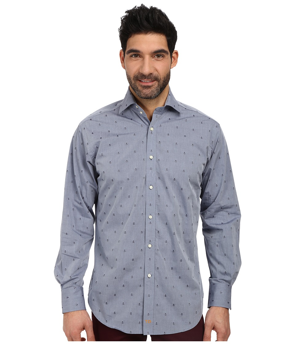 Thomas Dean & Co. - L/S Woven Shirt Polished Chambray w/ Embroidered Pineapples (Navy) Men's Long Sleeve Button Up