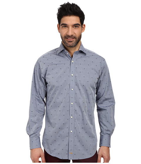 Thomas Dean & Co. - L/S Woven Shirt Polished Chambray w/ Embroidered Pineapples (Navy) Men