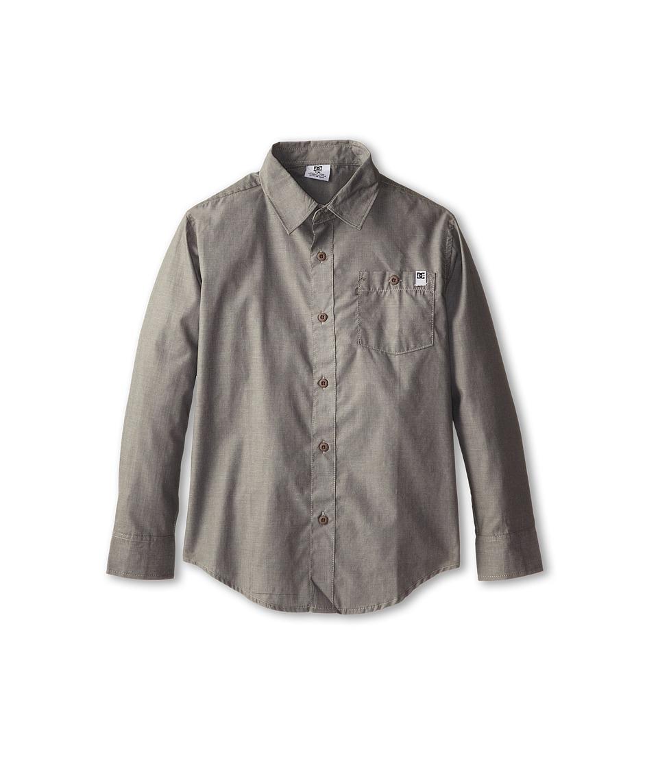 DC Kids - Elegant L/S Woven Shirt (Big Kids) (Pewter) Boy