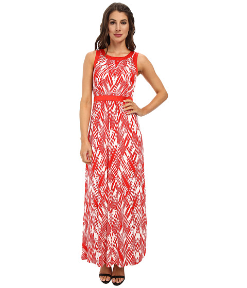 NYDJ - Mikala Printed Maxi Dress (Vivid Red) Women's Dress