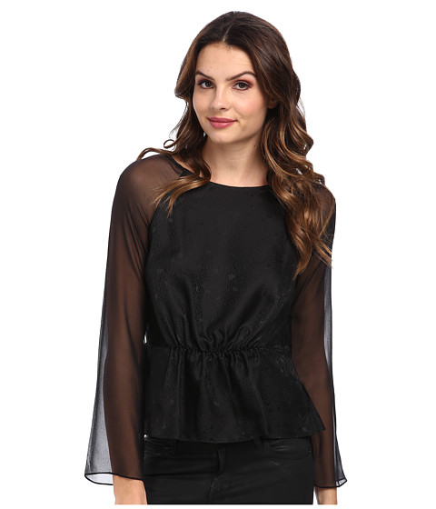 Rebecca Taylor - L/S Textured Silk Peplum Top (Black) Women's Long Sleeve Pullover