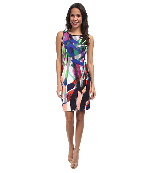 NYDJ - Becca Abstract Brush Art Shift Dress (Multi) Women