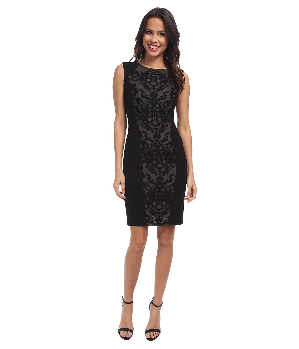NYDJ - Ellis Embroidered Mesh Ponte Dress (Black/Black Lace) Women