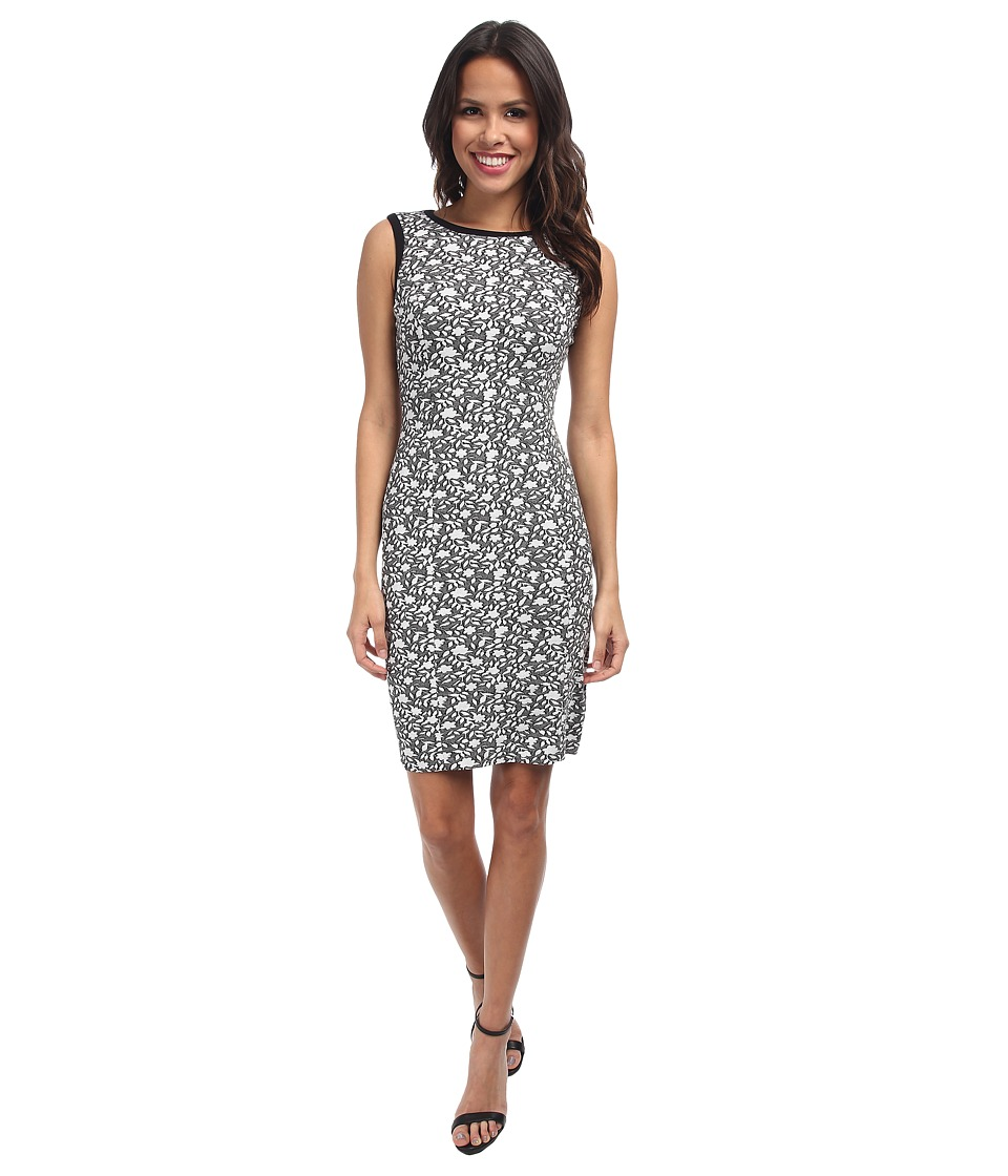 NYDJ - Caila Knit Jacquard Sheath Dress (Black/Optic White) Women