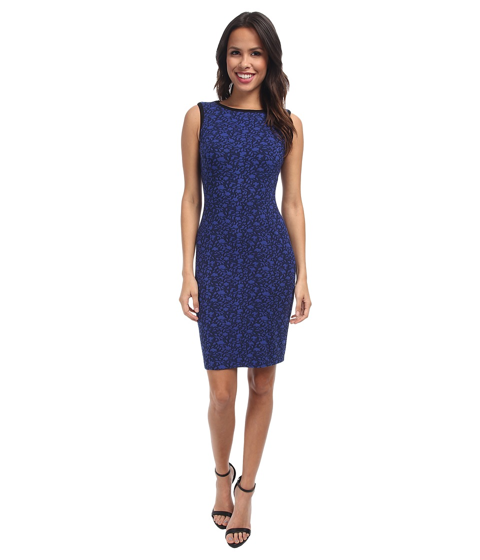 NYDJ - Caila Knit Jacquard Sheath Dress (Cobalt Blue/Black) Women's Dress