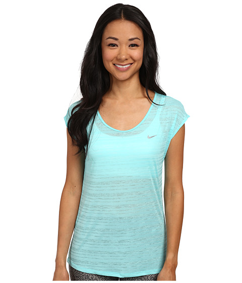 Nike - Dri-FIT Cool Breeze Short Sleeve Top (Light Aqua/Reflective Silver) Women's Short Sleeve Pullover
