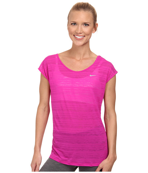 Nike - Dri-FIT Cool Breeze Short Sleeve Top (Fuchsia Flash/Reflective Silver) Women's Short Sleeve Pullover