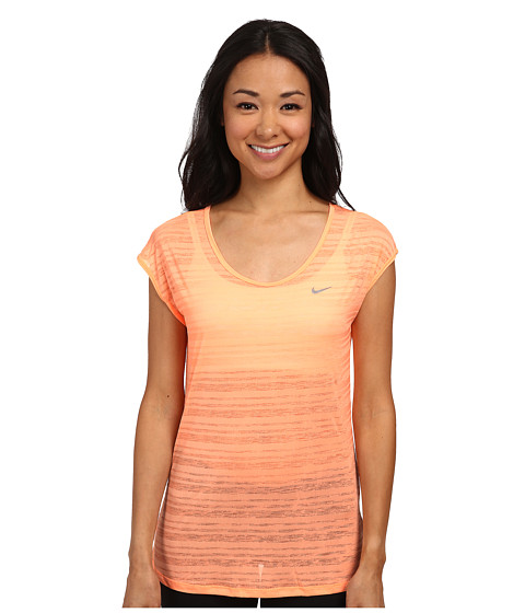 Nike - Dri-FIT Cool Breeze Short Sleeve Top (Sunset Glow/Reflective Silver) Women's Short Sleeve Pullover
