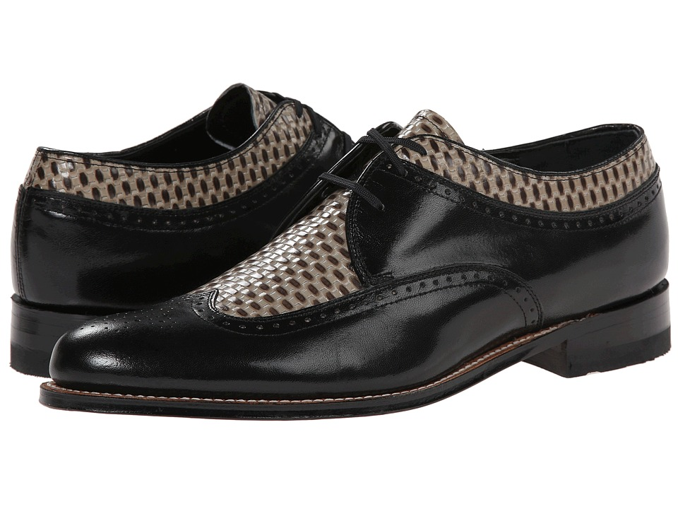 Stacy Adams - Dayton (Black/Gray) Men's Lace Up Wing Tip Shoes