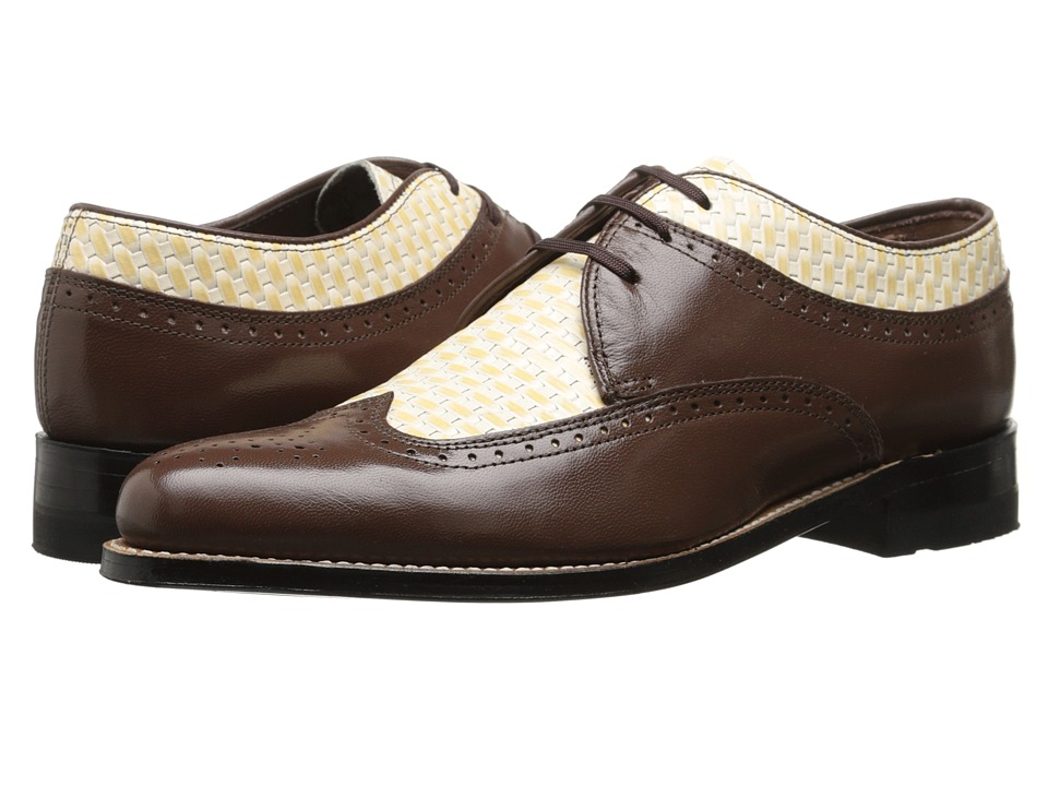 Stacy Adams - Dayton (Brown/Ivory) Men's Lace Up Wing Tip Shoes