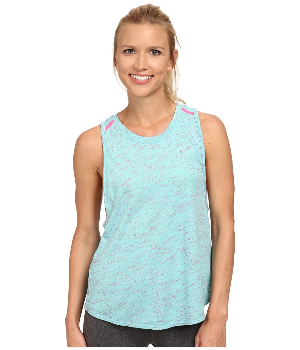 Nike - Tailwind Neon Slub Tank Top (Light Aqua/Heather/Pink Pow/Reflective Silver) Women's Sleeveless