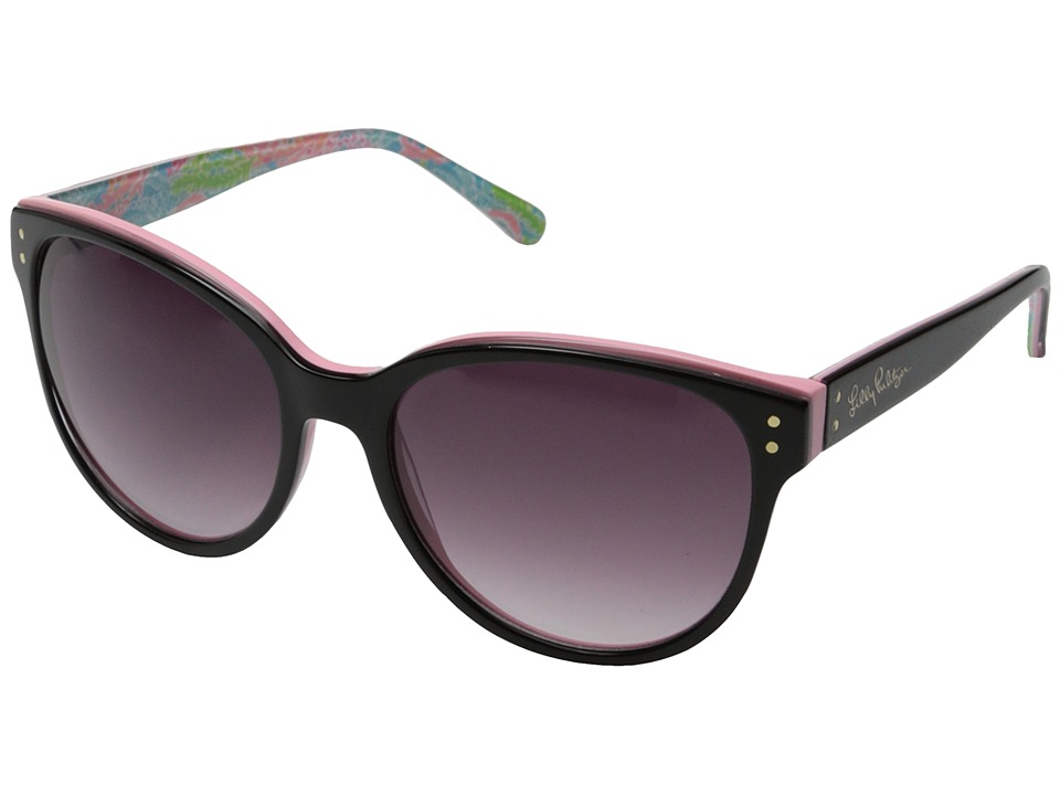 Lilly Pulitzer - Atwood (Black/Pink/Let's Cha Cha/Gradient Smoke) Fashion Sunglasses