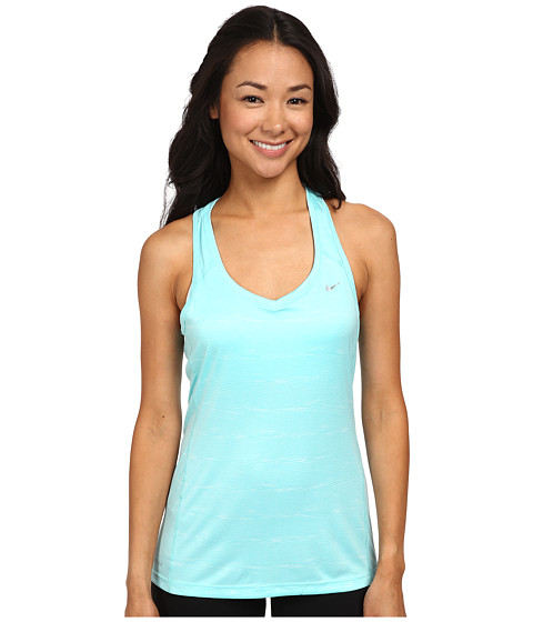 Nike - Printed Miler Tank Top (Light Aqua/Reflective Silver) Women's Sleeveless