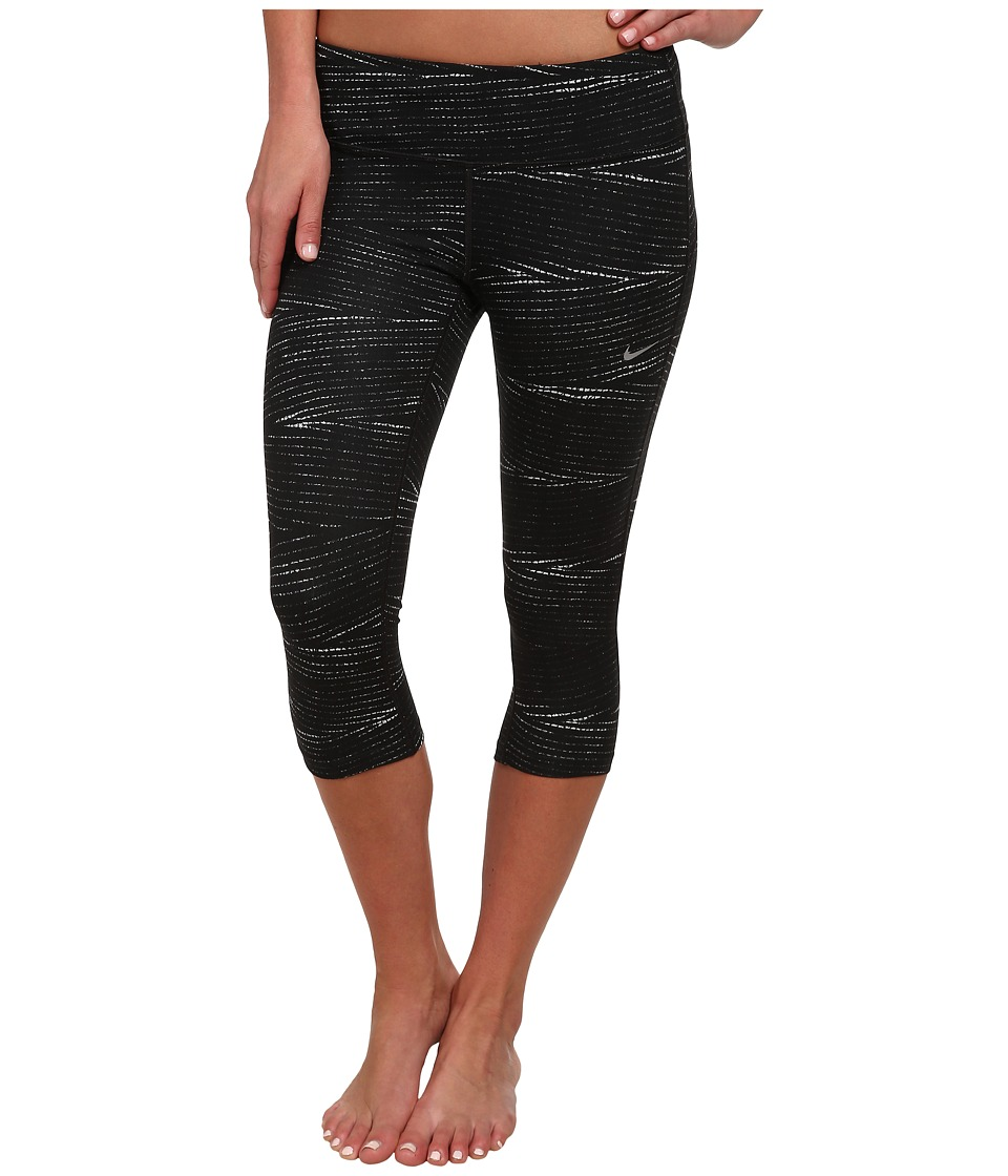 Nike - Dri-FIT Epic Run Printed Capri (Black/Grey Mist/Reflective Silver) Women's Capri