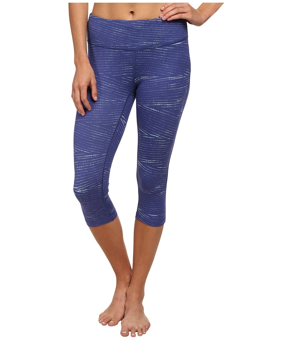 Nike - Dri-FIT Epic Run Printed Capri (Blue Legend/Artisan Teal/Reflective Silver) Women's Capri
