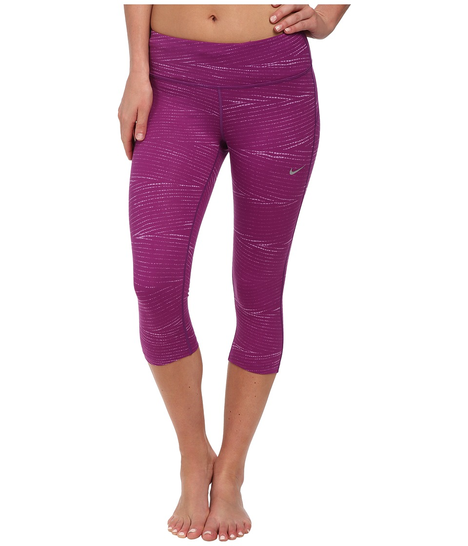 Nike - Dri-FIT Epic Run Printed Capri (Bold Berry/Violet Shock/Reflective Silver) Women's Capri