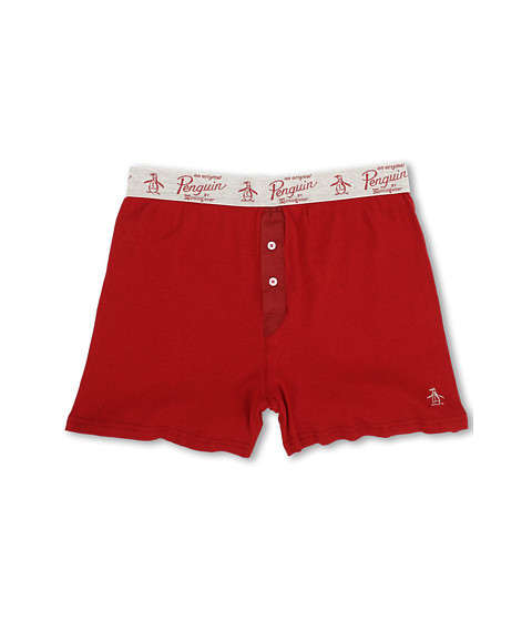 Original Penguin - Ribbed Cotton Open Leg Boxer (Red Dahlia) Men's Underwear
