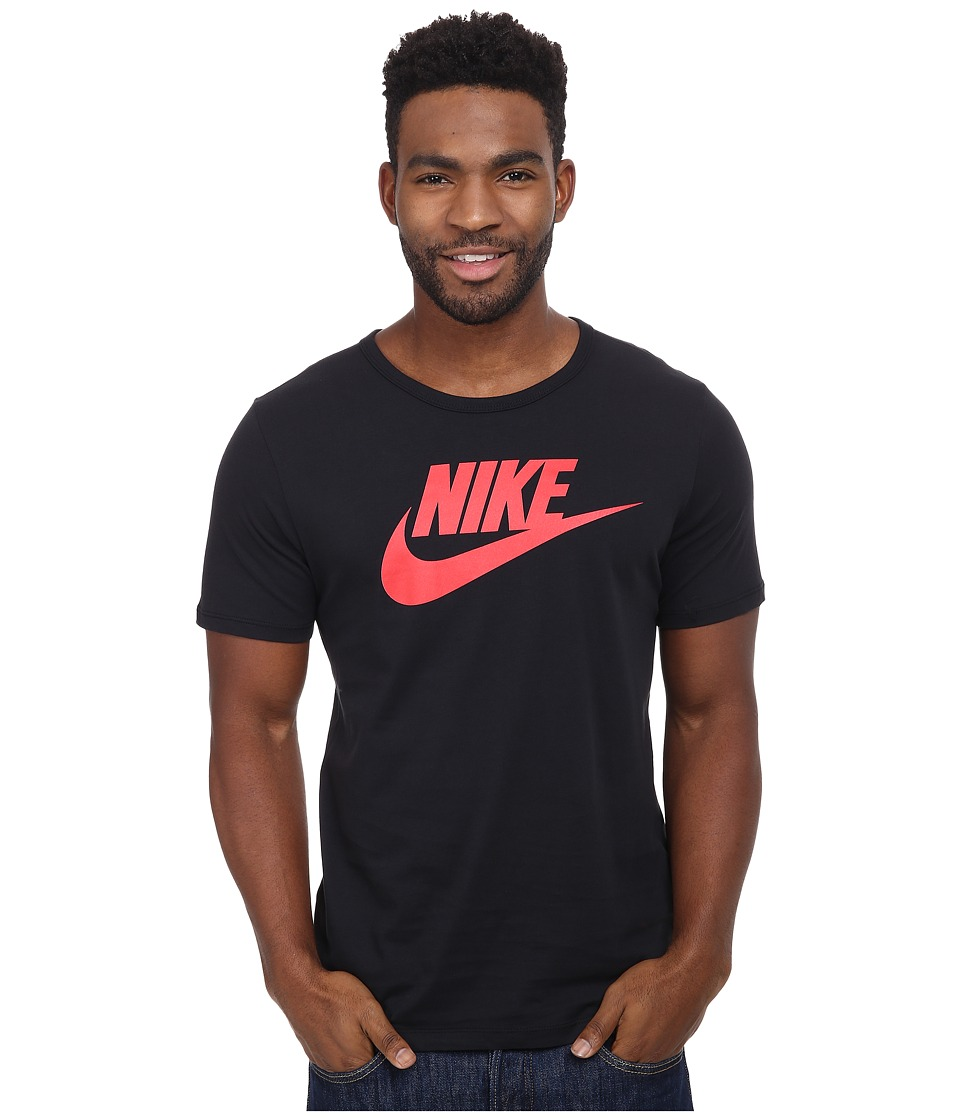 Nike - Futura Icon Tee (Black/University Red) Men's Short Sleeve Pullover