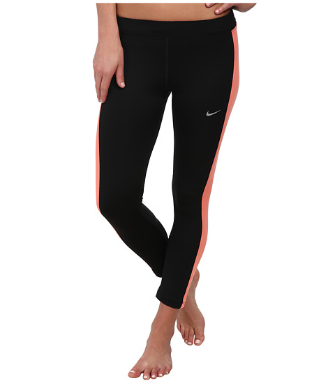Nike - Dri-FIT Essential Color Blocked Crop (Black/Sunblush/Reflective Silver) Women