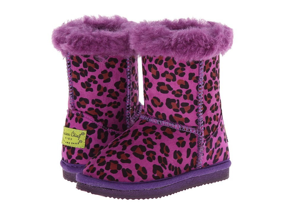 Western Chief Kids - Cheetah Bootie (Toddler/Little Kid) (Purple) Girls Shoes
