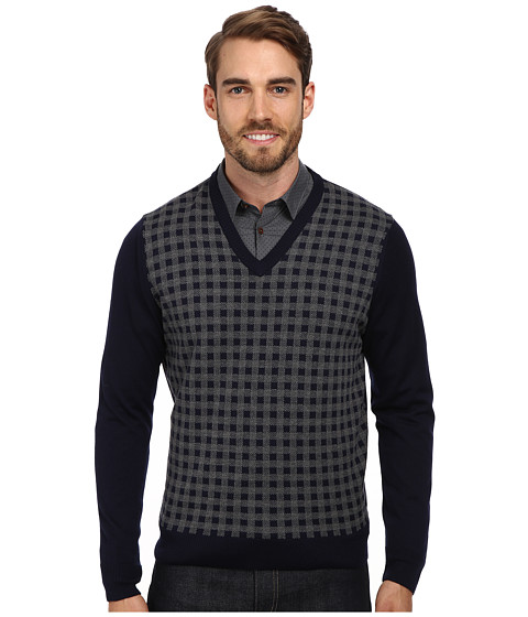 Thomas Dean & Co. - L/S V-Neck Sweater w/ Check Front Detail (Mid Grey) Men's Sweater