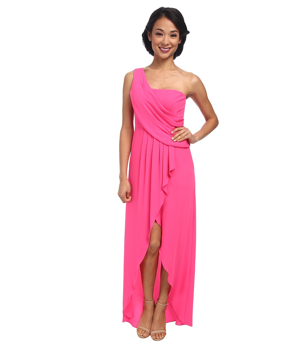 BCBGMAXAZRIA - Kail One Shoulder Drape Gown (Neon Pink) Women's Dress