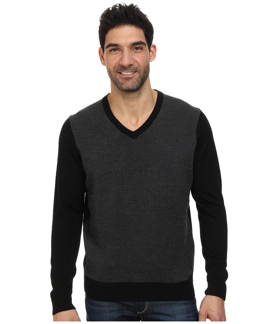 Thomas Dean & Co. - L/S V-Neck Sweater Herringbone Front Detail (Black) Men