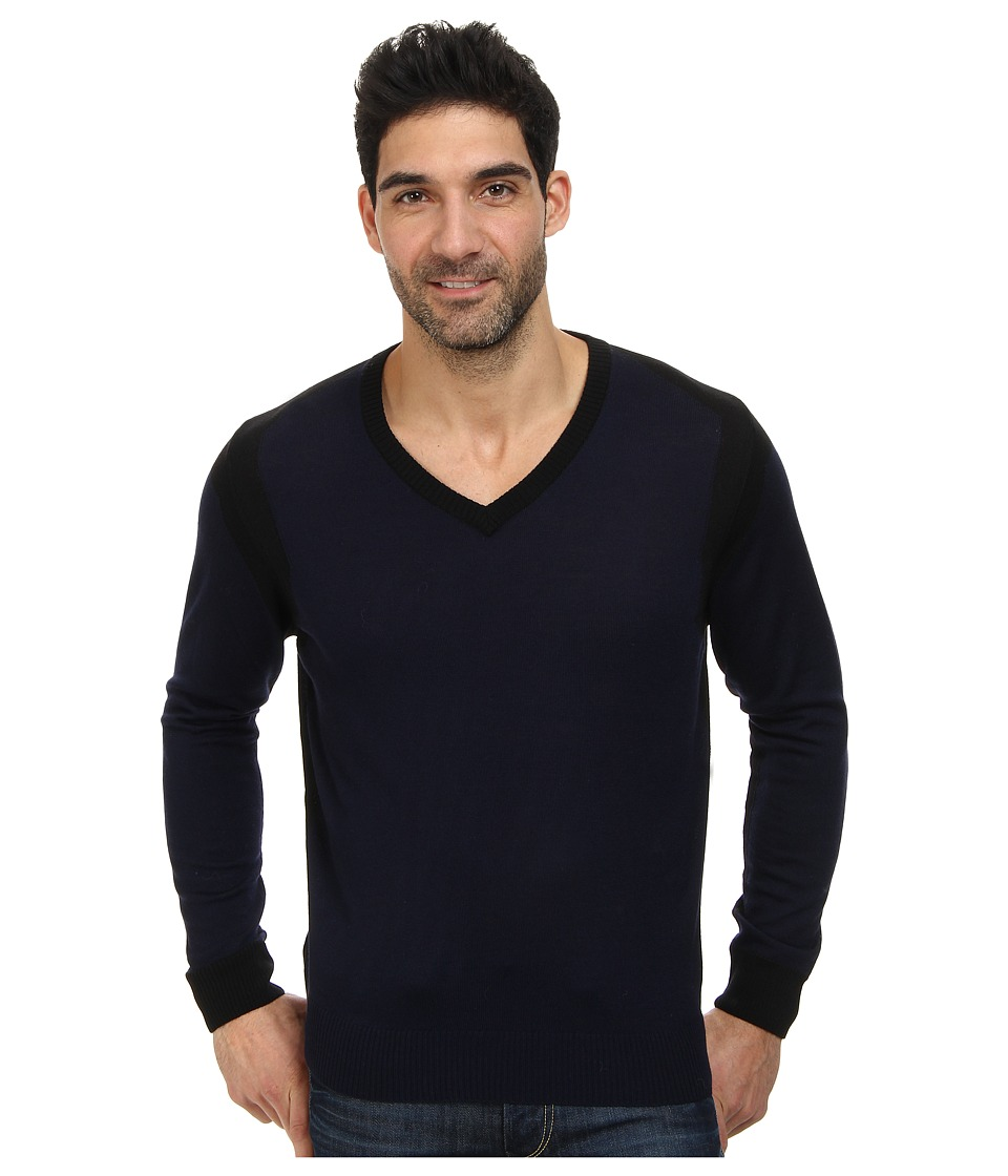 Thomas Dean & Co. - Long Sleeve V-Neck Color Block Sweater (Navy) Men's Sweater