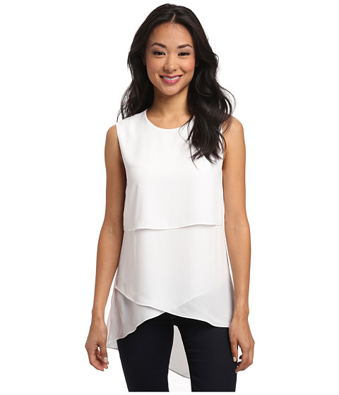 BCBGMAXAZRIA - Lynzi Layered Asymmetrical Top (White) Women's Clothing