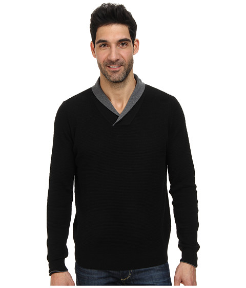 Thomas Dean & Co. - L/S Waffle Knit Sweater Shawl Collar (Black) Men
