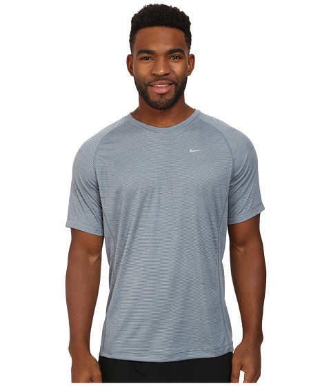 Nike - Printed Miler Short Sleeve (Dove Grey/Reflective Silver) Men