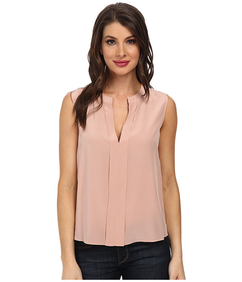 BCBGMAXAZRIA - Vanesa Folded Placket Sleeveless Top (Shadow Blush) Women