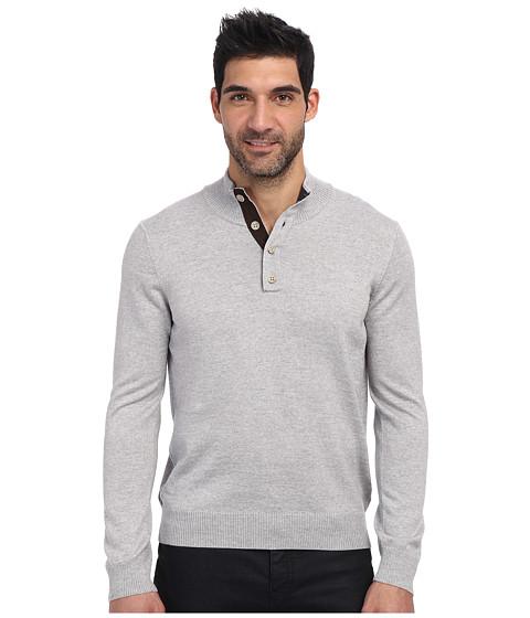 Thomas Dean & Co. - L/S Quarter-Button Sweater (Light Grey) Men's Sweater