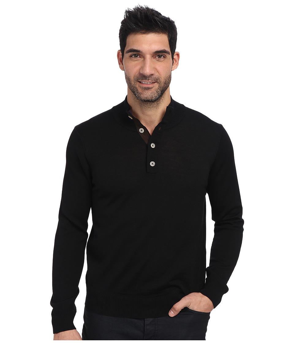 Thomas Dean & Co. - L/S Quarter-Button Sweater (Black) Men
