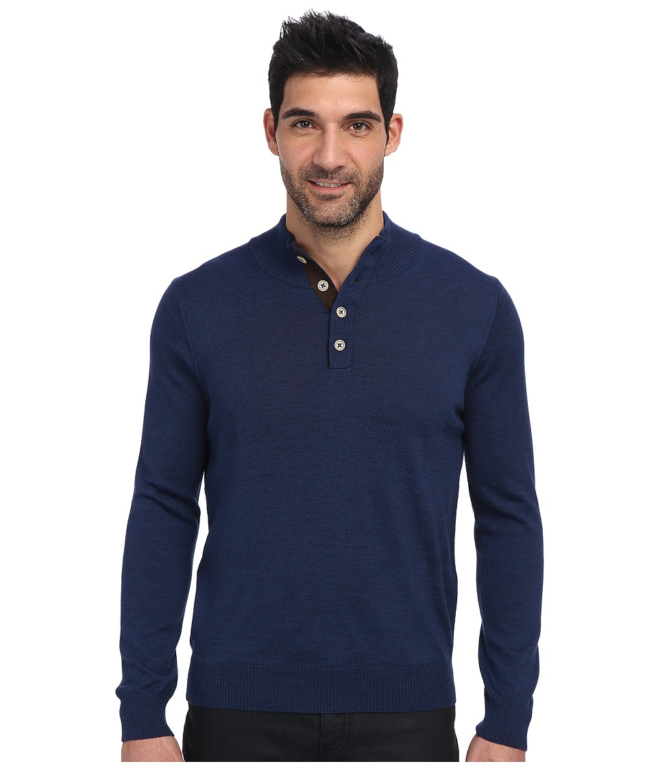 Thomas Dean & Co. - L/S Quarter-Button Sweater (Cobalt) Men's Sweater