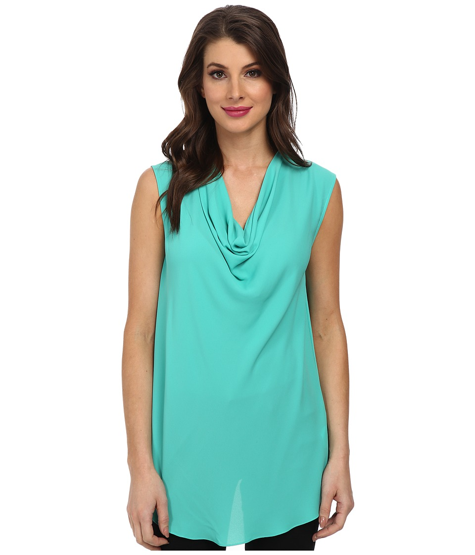 BCBGMAXAZRIA - Eliza Sleeveless Top With Back Cowl (Bright Turquoise) Women's Sleeveless